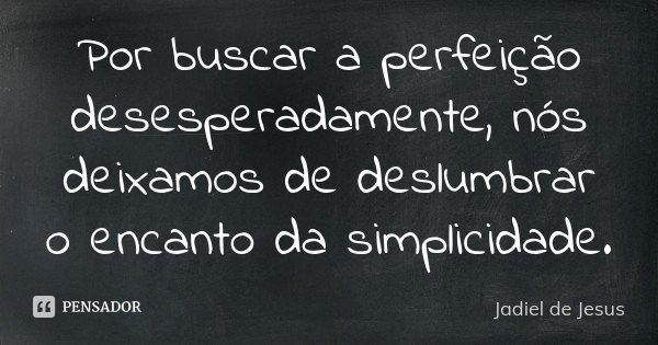 Por buscar a perfeição desesperadamente, nós deixamos de deslumbrar o encanto da simplicidade.... Frase de Jadiel de Jesus.