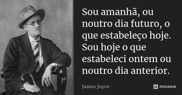 Sou amanhã, ou noutro dia futuro, o que estabeleço hoje. Sou hoje o que estabeleci ontem ou noutro dia anterior.... Frase de James Joyce.
