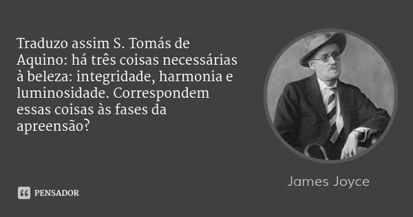 Traduzo assim S. Tomás de Aquino: há três coisas necessárias à beleza: integridade, harmonia e luminosidade. Correspondem essas coisas às fases da apreensão?... Frase de James Joyce.