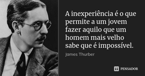 A inexperiência é o que permite a um jovem fazer aquilo que um homem mais velho sabe que é impossível.... Frase de James Thurber.