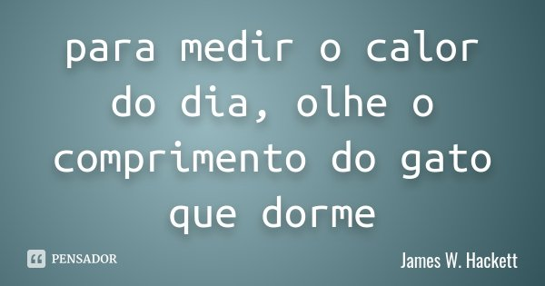 para medir o calor do dia, olhe o comprimento do gato que dorme... Frase de James W. Hackett.