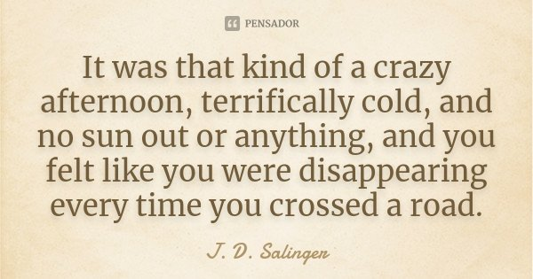 It Was That Kind Of A Crazy Afternoon J D Salinger