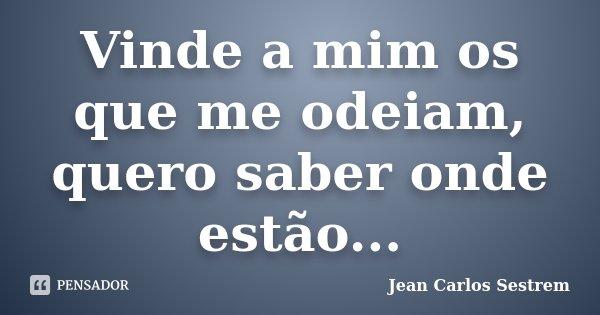 Vinde a mim os que me odeiam, quero saber onde estão...... Frase de Jean Carlos Sestrem.