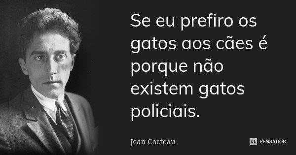 Se eu prefiro os gatos aos cães é porque não existem gatos policiais.... Frase de Jean Cocteau.