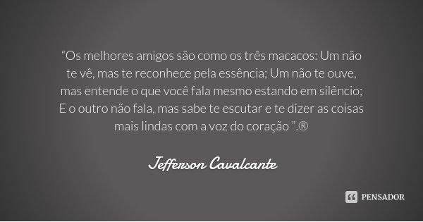 """""""Os melhores amigos são como os três macacos: Um não te vê, mas te reconhece pela essência; Um não te ouve, mas entende o que você fala mesmo estando em silênci... Frase de Jefferson Cavalcante."""