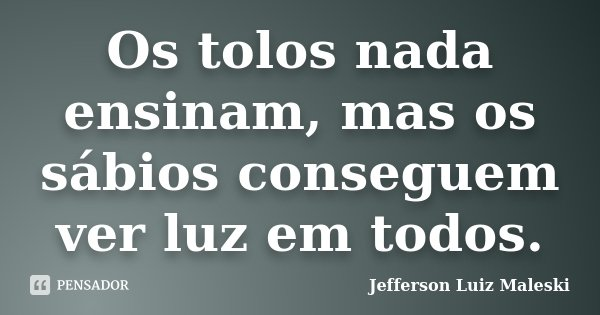 Os tolos nada ensinam, mas os sábios conseguem ver luz em todos.... Frase de Jefferson Luiz Maleski.
