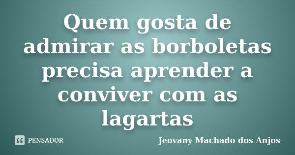 Quem gosta de admirar as borboletas precisa aprender a conviver com as lagartas... Frase de Jeovany Machado dos Anjos.