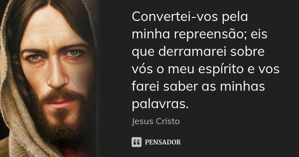 Convertei-vos pela minha repreensão; eis que derramarei sobre vós o meu espírito e vos farei saber as minhas palavras.... Frase de Jesus cristo.