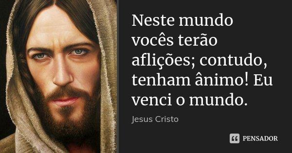 Neste mundo vocês terão aflições; contudo, tenham ânimo! Eu venci o mundo.... Frase de Jesus Cristo.