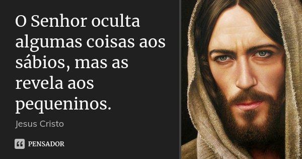 O Senhor oculta algumas coisas aos sábios, mas as revela aos pequeninos.... Frase de Jesus Cristo.