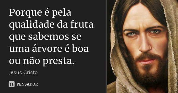 Porque é pela qualidade da fruta que sabemos se uma árvore é boa ou não presta.... Frase de Jesus Cristo.