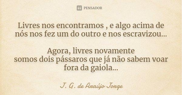 Livres nos encontramos , e algo acima de nós nos fez um do outro e nos escravizou... Agora, livres novamente somos dois pássaros que já não sabem voar fora da g... Frase de J. G. de Araújo Jorge.