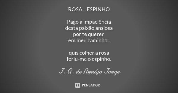 ROSA...ESPINHO Pago a impaciência desta paixão ansiosa por te querer em meu caminho.. quis colher a rosa feriu-me o espinho.... Frase de J.G. de Araujo Jorge.