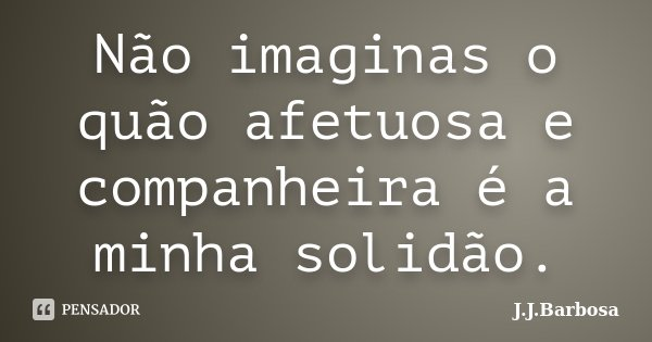 Não imaginas o quão afetuosa e companheira é a minha solidão.... Frase de J J Barbosa.