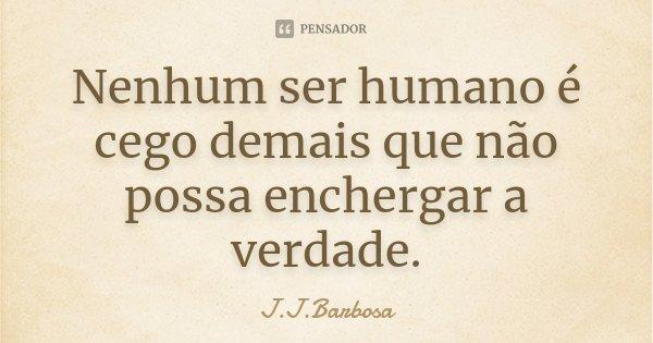 Nenhum ser humano é cego demais que não possa enchergar a verdade.... Frase de J J Barbosa.