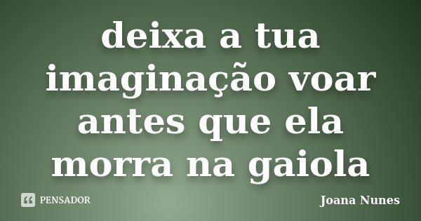 deixa a tua imaginação voar antes que ela morra na gaiola... Frase de Joana Nunes.