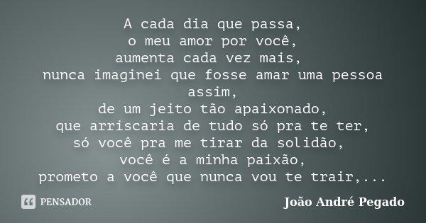 A cada dia que passa, o meu amor por você, aumenta cada vez mais, nunca imaginei que fosse amar uma pessoa assim, de um jeito tão apaixonado, que arriscaria de ... Frase de João André Pegado.