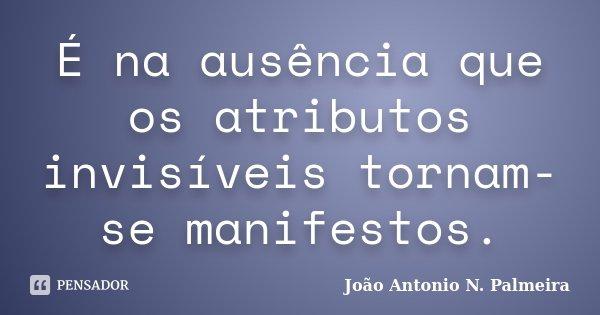 É na ausência que os atributos invisíveis tornam-se manifestos.... Frase de João Antonio N. Palmeira.