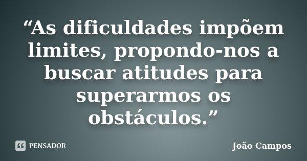 """""""As dificuldades impõem limites, propondo-nos a buscar atitudes para superarmos os obstáculos.""""... Frase de João Campos."""