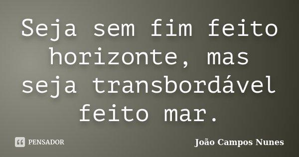 Seja sem fim feito horizonte, mas seja transbordável feito mar.... Frase de João Campos Nunes.