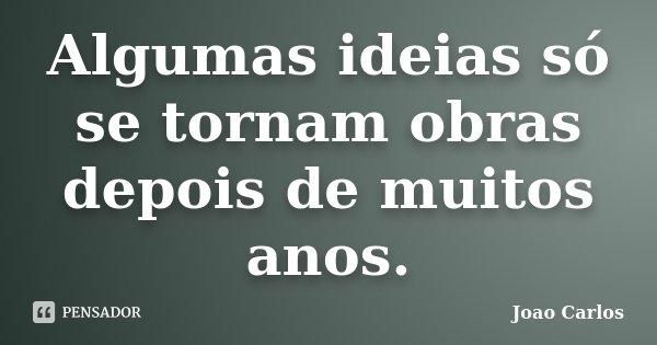 Algumas ideias só se tornam obras depois de muitos anos.... Frase de João Carlos.