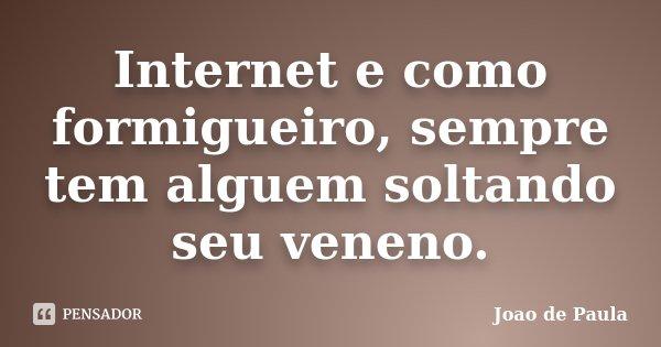 Internet e como formigueiro, sempre tem alguem soltando seu veneno.... Frase de João de Paula.