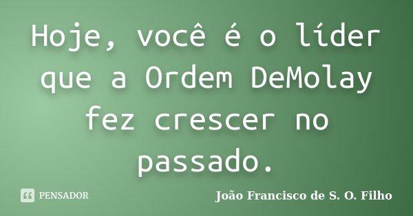 Hoje, você é o líder que a Ordem DeMolay fez crescer no passado.... Frase de João Francisco de S. O. Filho.