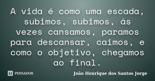 A vida é como uma escada, subimos, subimos, ás vezes cansamos, paramos para descansar, caimos, e como o objetivo, chegamos ao final.... Frase de João Henrique dos Santos Jorge.