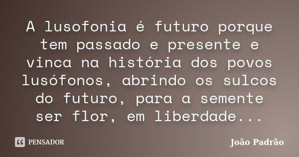 A lusofonia é futuro porque tem passado e presente e vinca na história dos povos lusófonos, abrindo os sulcos do futuro, para a semente ser flor, em liberdade..... Frase de João Padrão.