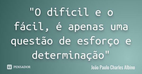"""""""O difícil e o fácil, é apenas uma questão de esforço e determinação""""... Frase de João Paulo Charles Albino."""