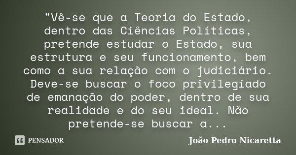"""""""Vê-se que a Teoria do Estado, dentro das Ciências Políticas, pretende estudar o Estado, sua estrutura e seu funcionamento, bem como a sua relação com o ju... Frase de João Pedro Nicaretta."""