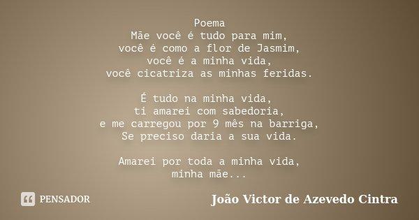 Poema Mãe Você é Tudo Para Mim Você João Victor De Azevedo
