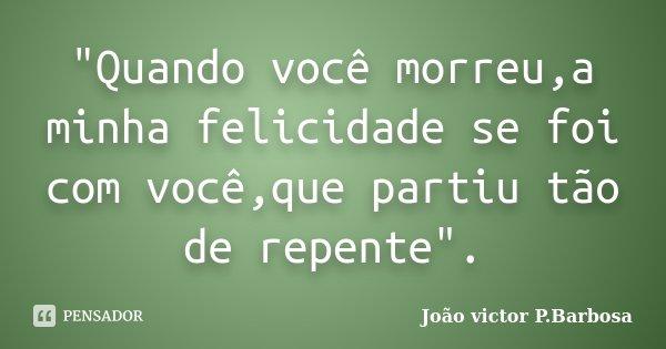 """""""Quando você morreu,a minha felicidade se foi com você,que partiu tão de repente"""".... Frase de João victor P.Barbosa."""