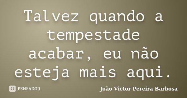 Talvez quando a tempestade acabar, eu não esteja mais aqui.... Frase de João Victor Pereira Barbosa.