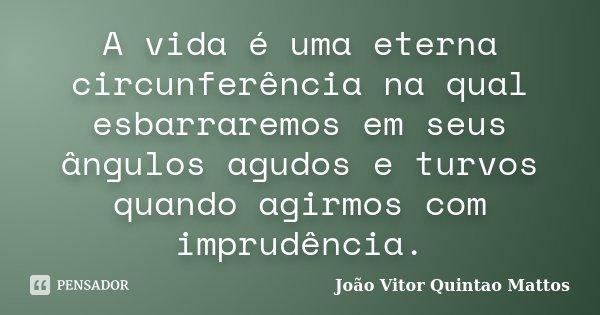 A vida é uma eterna circunferência na qual esbarraremos em seus ângulos agudos e turvos quando agirmos com imprudência.... Frase de João Vitor Quintão Mattos.