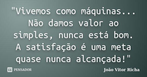 """""""Vivemos como máquinas... Não damos valor ao simples, nunca está bom. A satisfação é uma meta quase nunca alcançada!""""... Frase de João Vitor Richa."""