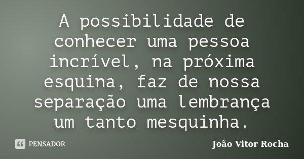 A possibilidade de conhecer uma pessoa incrível, na próxima esquina, faz de nossa separação uma lembrança um tanto mesquinha.... Frase de João Vitor Rocha.