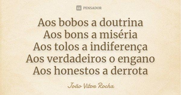 Aos bobos a doutrina Aos bons a miséria Aos tolos a indiferença Aos verdadeiros o engano Aos honestos a derrota... Frase de João Vitor Rocha.