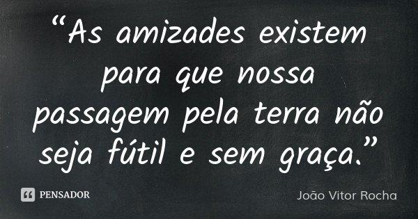 """""""As amizades existem para que nossa passagem pela terra não seja fútil e sem graça.""""... Frase de João Vitor Rocha."""