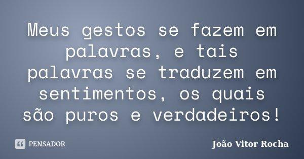 Meus gestos se fazem em palavras, e tais palavras se traduzem em sentimentos, os quais são puros e verdadeiros!... Frase de João Vitor Rocha.