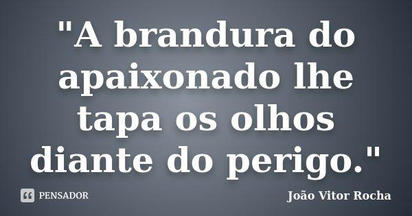 """""""A brandura do apaixonado lhe tapa os olhos diante do perigo.""""... Frase de João Vitor Rocha."""