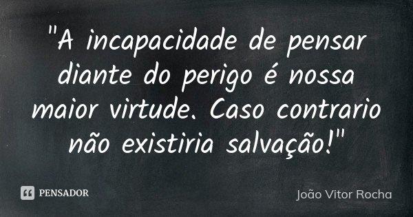 """""""A incapacidade de pensar diante do perigo é nossa maior virtude. Caso contrario não existiria salvação!""""... Frase de João Vitor Rocha."""
