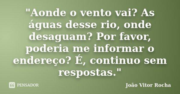 """""""Aonde o vento vai? As águas desse rio, onde desaguam? Por favor, poderia me informar o endereço? É, continuo sem respostas.""""... Frase de João Vitor Rocha."""