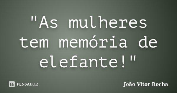 """""""As mulheres tem memória de elefante!""""... Frase de João Vitor Rocha."""