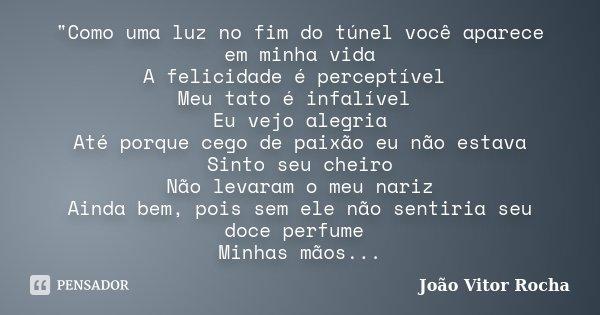 """""""Como uma luz no fim do túnel você aparece em minha vida A felicidade é perceptível Meu tato é infalível Eu vejo alegria Até porque cego de paixão eu não e... Frase de João Vitor Rocha."""