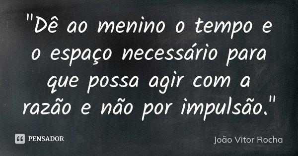 """""""Dê ao menino o tempo e o espaço necessário para que possa agir com a razão e não por impulsão.""""... Frase de João Vitor Rocha."""