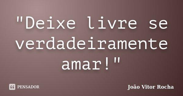 """""""Deixe livre se verdadeiramente amar!""""... Frase de João Vitor Rocha."""