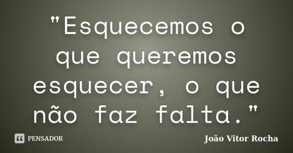 """""""Esquecemos o que queremos esquecer, o que não faz falta.""""... Frase de João Vitor Rocha."""