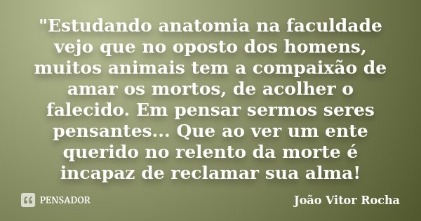 """""""Estudando anatomia na faculdade vejo que no oposto dos homens, muitos animais tem a compaixão de amar os mortos, de acolher o falecido. Em pensar sermos s... Frase de João Vitor Rocha."""