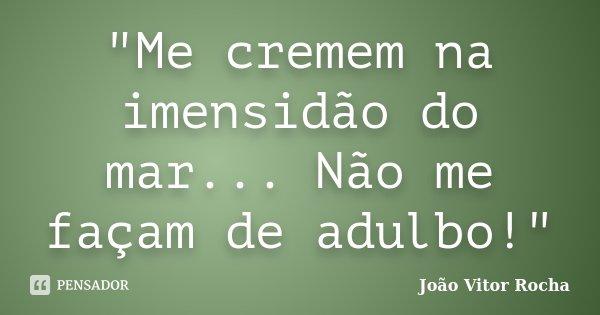 """""""Me cremem na imensidão do mar... Não me façam de adulbo!""""... Frase de João Vitor Rocha."""